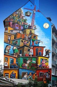 Street art façade d'immeuble