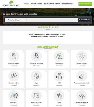 Page d'accueil site asset market