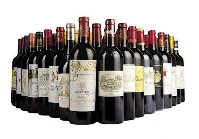 Bouteilles de grands crus de vin
